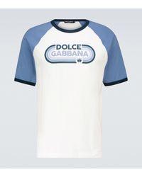 Dolce & Gabbana Bedrucktes T-Shirt aus Baumwolle - Blau