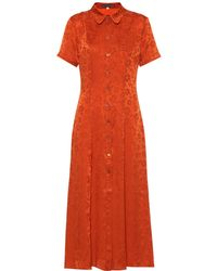 ALEXACHUNG Floral Silk-blend Shirt Dress - Multicolour