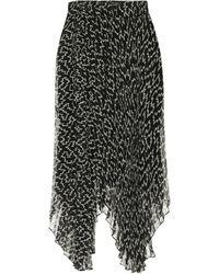 Isabel Marant Alena Printed Georgette Midi Skirt - Black