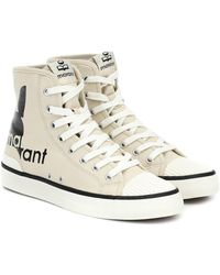 Isabel Marant Benkeen Logo-print Canvas High-top Sneakers - Natural