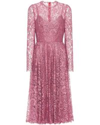 Dolce & Gabbana Floral Lace Pleated Dress - Pink
