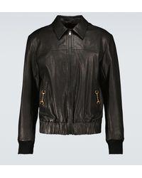 Gucci Leather Blouson Jacket - Black