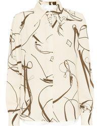Victoria Beckham Bluse Aus Crêpe Mit Print - Natur