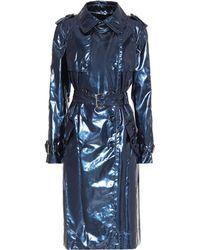 Marc Jacobs Metallic Vinyl Trench Coat - Blue