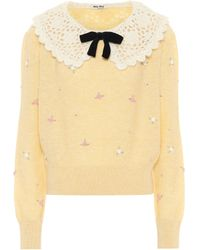 Miu Miu Pullover aus Wolle - Gelb
