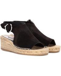 Rag & Bone - Calla Suede Raffia Wedge Sandals - Lyst
