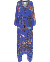 Camilla Embellished Silk Kaftan - Blue