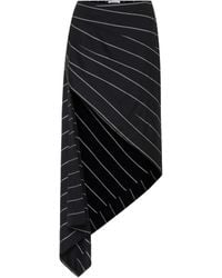 Monse Asymmetric Wool Midi Skirt - Black