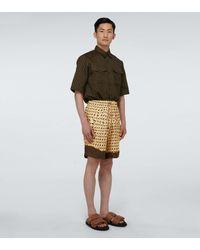 Dries Van Noten Bedruckte Bermuda-Shorts - Gelb