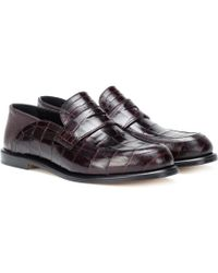 Loewe - Embossed Leather Loafers - Lyst