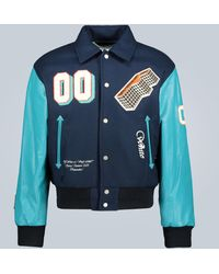 Off-White c/o Virgil Abloh Leather-sleeved Varsity Jacket - Blue