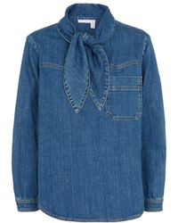 See By Chloé Blusa de jeans con lazo - Azul