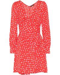 ALEXACHUNG Robe courte en crêpe imprimé - Rouge