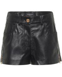 Versace Shorts aus Leder - Schwarz