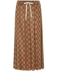 Gucci Jupe tissée à imprimé logo GG - Marron