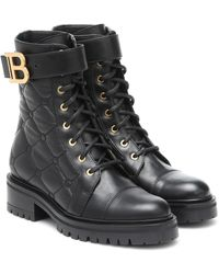 Balmain Ranger Quilted Leather Combat Boots - Black