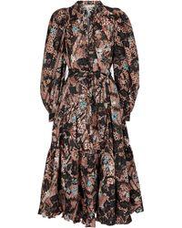 Ulla Johnson Dolores Floral Cotton Midi Dress - Black