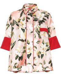 F.R.S For Restless Sleepers Pistis Plumeria Silk Pyjama Shirt - Multicolour