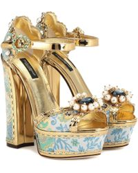 Dolce & Gabbana Embellished Plateau Sandals - Blue