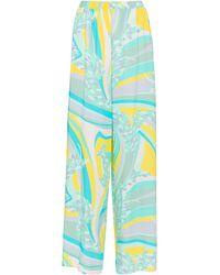 Emilio Pucci Pantalones anchos de tiro alto - Azul