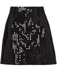 Junya Watanabe Mini-jupe en laine mélangée à sequins - Noir