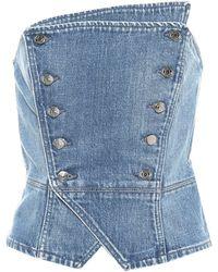 GRLFRND Top bustier Florence de jeans - Azul