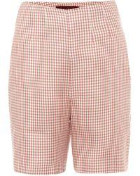 ALEXACHUNG May High-rise Houndstooth Shorts - Pink
