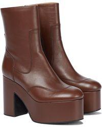 Dries Van Noten Leather Platform Boots - Brown