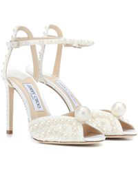 Jimmy Choo Sacora 100 Satin Pearl Sandals - White