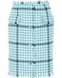 MSGM Houndstooth Tweed Skirt - Blue