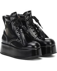 Marni Patent Leather Platform Ankle Boots - Black