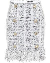 Balmain Mini-jupe en tweed de laine mélangée - Blanc