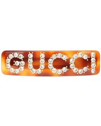 Gucci Fermacapelli con strass - Marrone