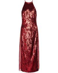 Galvan London Esclusiva Mytheresa - Abito midi con paillettes - Rosso