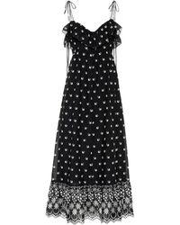 Athena Procopiou Moonbeams Floral-embroidered Dress - Black