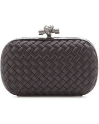 Bottega Veneta Knot Snake-trimmed Satin Box Clutch - Black