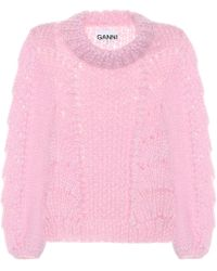 Ganni - Pullover in lana e mohair - Lyst