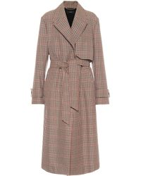 JOSEPH Chasa Checked Wool-blend Trench Coat - Brown