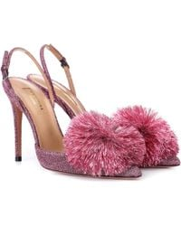 Aquazzura Salones Powder Puff 105 con purpurina - Rosa