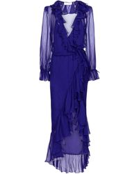 Saint Laurent Ruffled Silk Midi Dress - Blue
