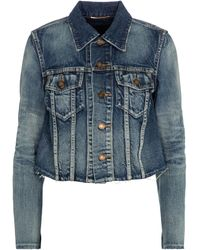 Saint Laurent Cropped Denim Jacket - Blue