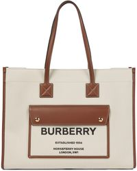 Burberry Freya Canvas And Leather Tote - Natural