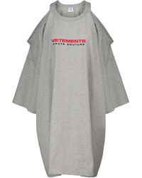 Vetements Minikleid aus Baumwoll-Jersey - Grau