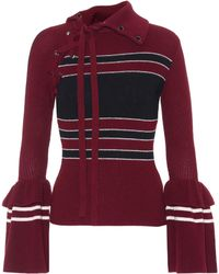 Self-Portrait - Striped Cotton And Wool Jumper - Lyst