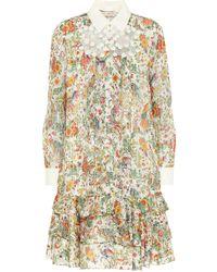 Tory Burch Floral Silk-blend Minidress - Natural