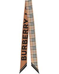 Burberry Pañuelo de seda de cuadros - Neutro