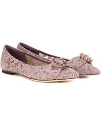 Dolce & Gabbana - Embellished Lace Ballerinas - Lyst