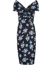 Diane von Furstenberg Candice Floral Stretch-cady Midi Dress - Blue