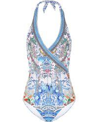 Camilla Geisha Gateways Printed Wrap-style Swimsuit - Blue