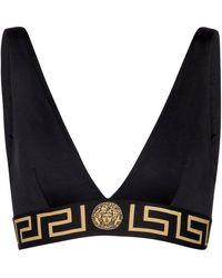 Versace Top de bikini con logo - Negro